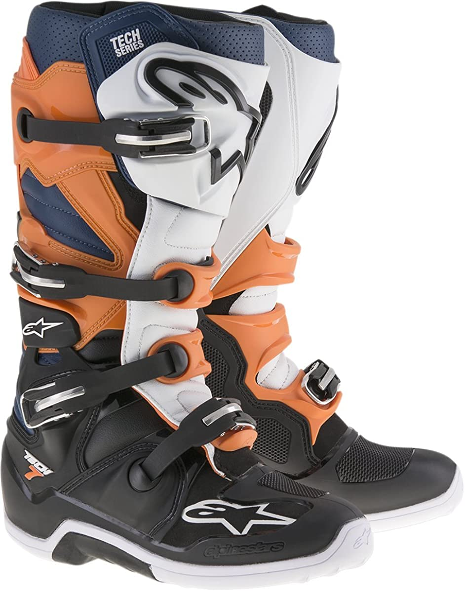 Alpinestars Men's Tech 7 Boots (Black/Orange/White, Size 11)