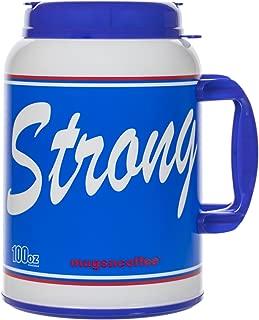 100 Oz Giant Insulated Mug with Straw - # USA Strong - Large Travel Mug (Blue)