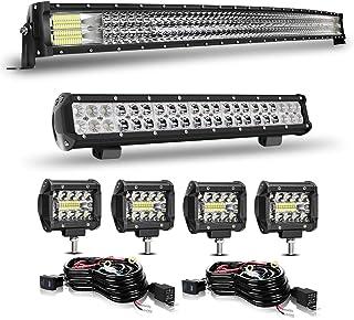DOT Approved 50Inch 684W Led Light Bar+ 20Inch LED Lights Offroad Roof Upper Light + 4