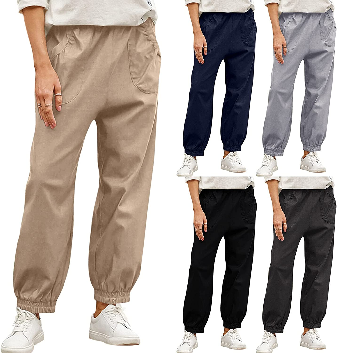 FANGTION Pants for Women High Waist Pants Casual Cotton Capri Cargo Pants Work Casual Trousers High Waisted Pleated Trousers
