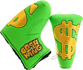 19th Hole Custom Shop Golf Headcover for Blade Mid-Size Mallet Putter, Cash is King, Green
