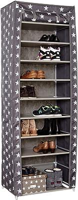 DE LA Tienda. IT 753177 Zapatero con 10 baldas, Estrellas de decoración, de poliéster, 175 x 60 x 40 cm