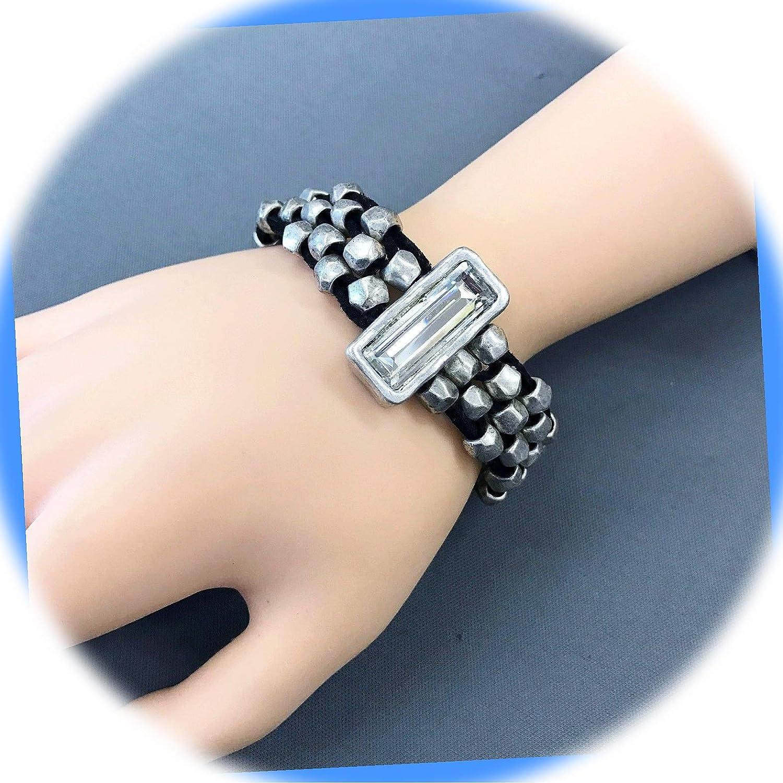 New Silver Tone Color Elegant Black Rhinestone Popular overseas Clear Bohemian Suede Styl