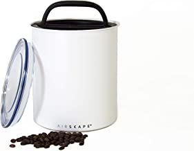 Planetary Design 2.5 lb Coffee Canister Airtight - Huge Kilo Container With Co2 Release For Airtight Storage To Maintain Freshness - Matte White