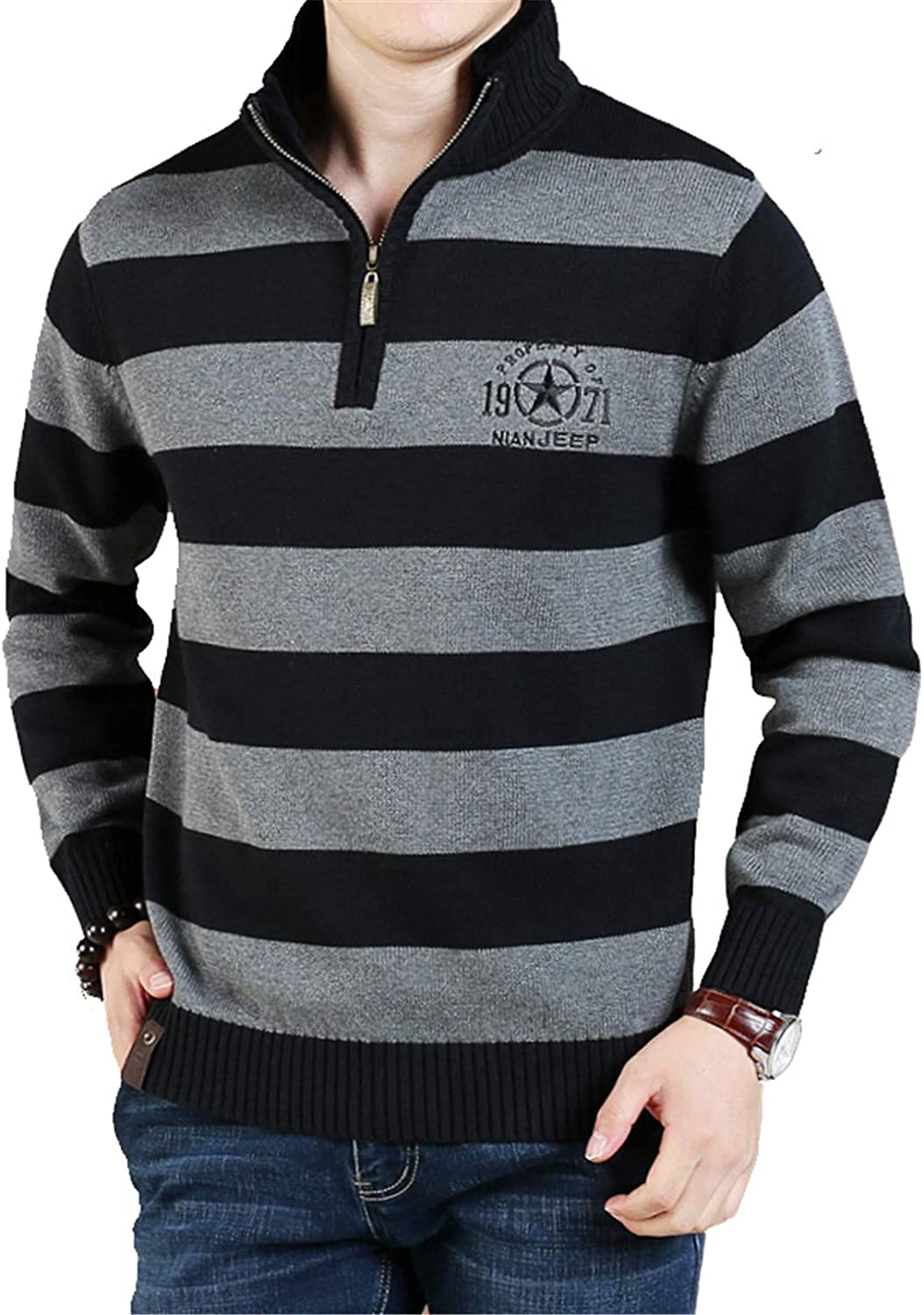 Men's Knitted Thick Pullover Jumpers Sweater Long Sleeve Fall Winter Warm Cardigans Knitwear Outwear,002,XXXL