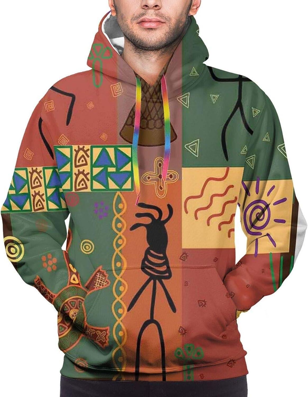 Men's Hoodies Sweatshirts,Funky Tribal Pattern Depicting African Style Dance Moves Instruments Spiritual