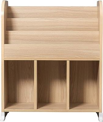 Iris Ohyama Kids Book Shelf ER-6030 Bibliothèque à 3 Niveaux et Étagère/Meuble de Rangement à Jouets pour Enfants, 3 Compartiments, Engineered Wood, Chêne Clair, L63,7 x P34,7 x H75,3 cm