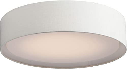 """new arrival Maxim lowest 10222OM Prime Acrylic & Oatmeal Linen Double Shade Drum LED Flush Mount, 3-Light 32.5 Total Watts, 6""""H x 20""""W, new arrival White outlet online sale"""