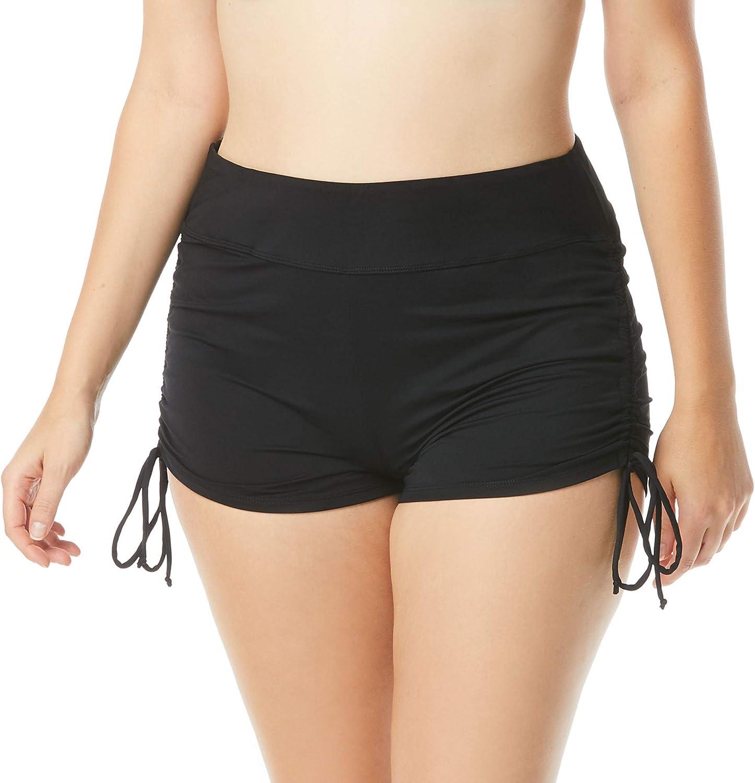 BEACH HOUSE Blake Adjustable Side Tie Bikini Swim Short — Full Coverage Bottom, Regular and Plus Sizes