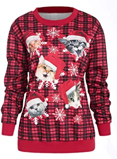 DongDong ☃Stylish Cat Snowflake Plaid Pullover- Women's Casual Christmas Printed Winter Sweatshirt Top