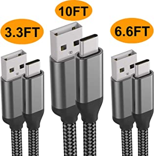 USB C Cable,3PACK 10FT 6FT 3FT,Fast Charging,Nylon,Charger Cord For LG Stylo 5 4 G8 V50 V40 ThinQ,Samsung Galaxy S10e S10 S9 Plus Note 9 A10e A20,Moto G7 Z4,Google Pixel 3 XL,ZTE Blade,iPad Pro,Sony