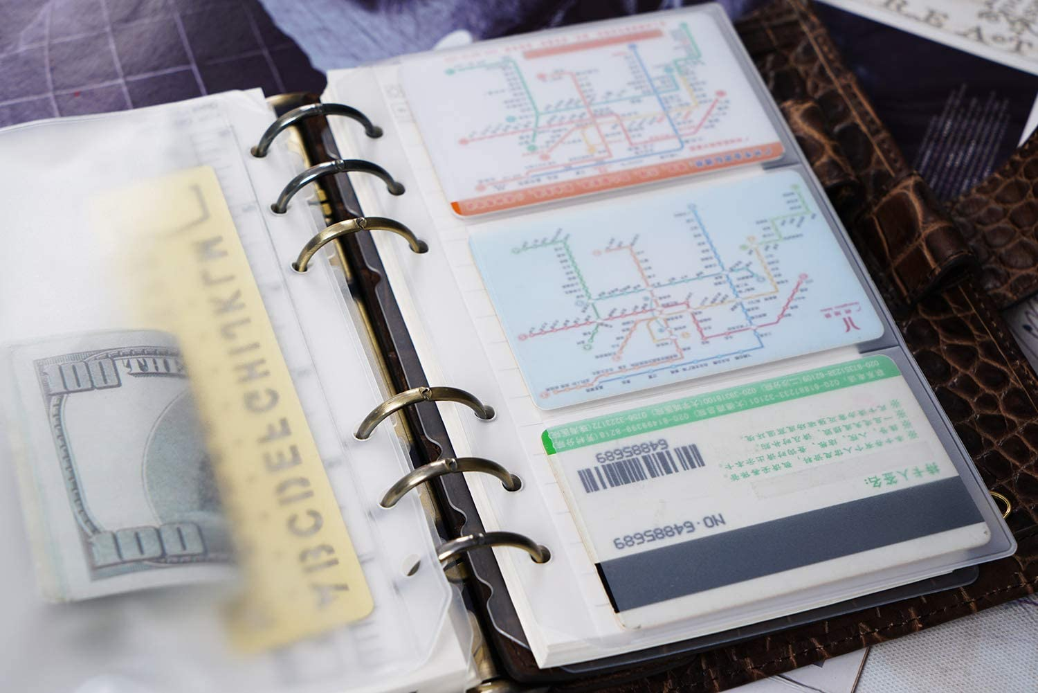 Moterm 2 PCs Page Lifter 1 PC PVC Storage Card Holder and 1 PC Zipper Bag for A7 Planner 1 PC Bookmark Ruler Transparent Separator