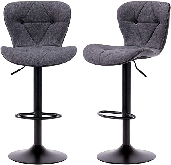 Ultimate New Modern Square Fabric Leather Swiverl Adjustable Barstools Counter Height Swivel Bar Stools Chair Square Set Of 2 Gray
