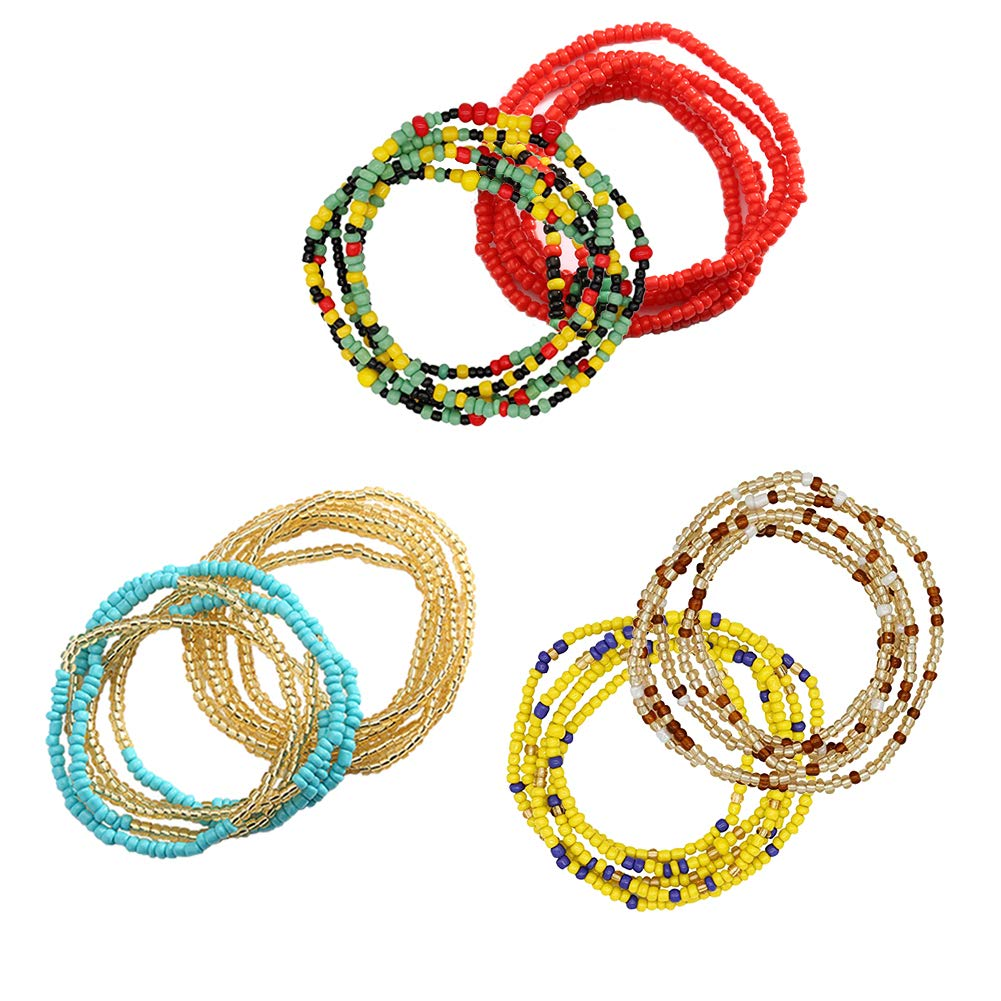 6 Pieces Summer Waist Bead Chains, African Waist Beads Colorful Belly Chain Beach Body Chains Bikini Jewelry for Women and Girls