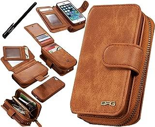 Urvoix Phone SE 5S 5 Case, Premium Leather Zipper Wallet Multi-Functional Handbag Detachable Removable Magnetic Case with Flip Card Holder Cover for Appple iPhone 5 5S SE