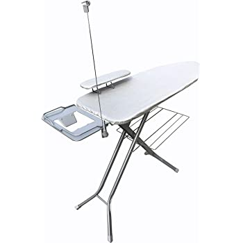 Magna Homewares Super Sigma Power Saving Extra Large Foldable Ironing Board with Ironing Rest, Cloth Rack, Wire Manager and Free Sleeve Board-Aluminised Silver Metallic Cover