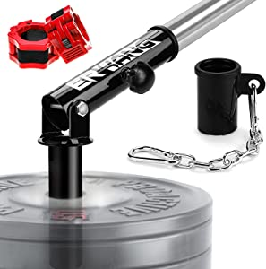 ER KANG T Bar Row Platform Set -Landmine Attachment with T-bar Row Platform Landmine Eyelet Attachment, Olympic Barbell Clamps - Fits 2'' Olympic Bar with Chain for Home Gym Equipment