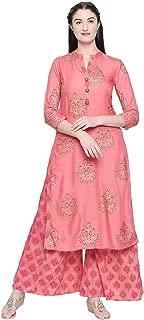 Ishin Women's Pink Rayon A-Line Printed Kurta Palazzo Sets