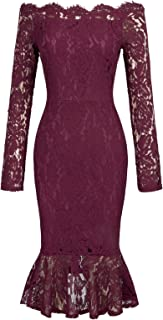 GRACE KARIN Women Floral Lace Boat Neck Mermaid Bodycon Pencil Dress