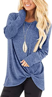 Women's Casual Twist Knot Tunics Tops Blouses Tshirts
