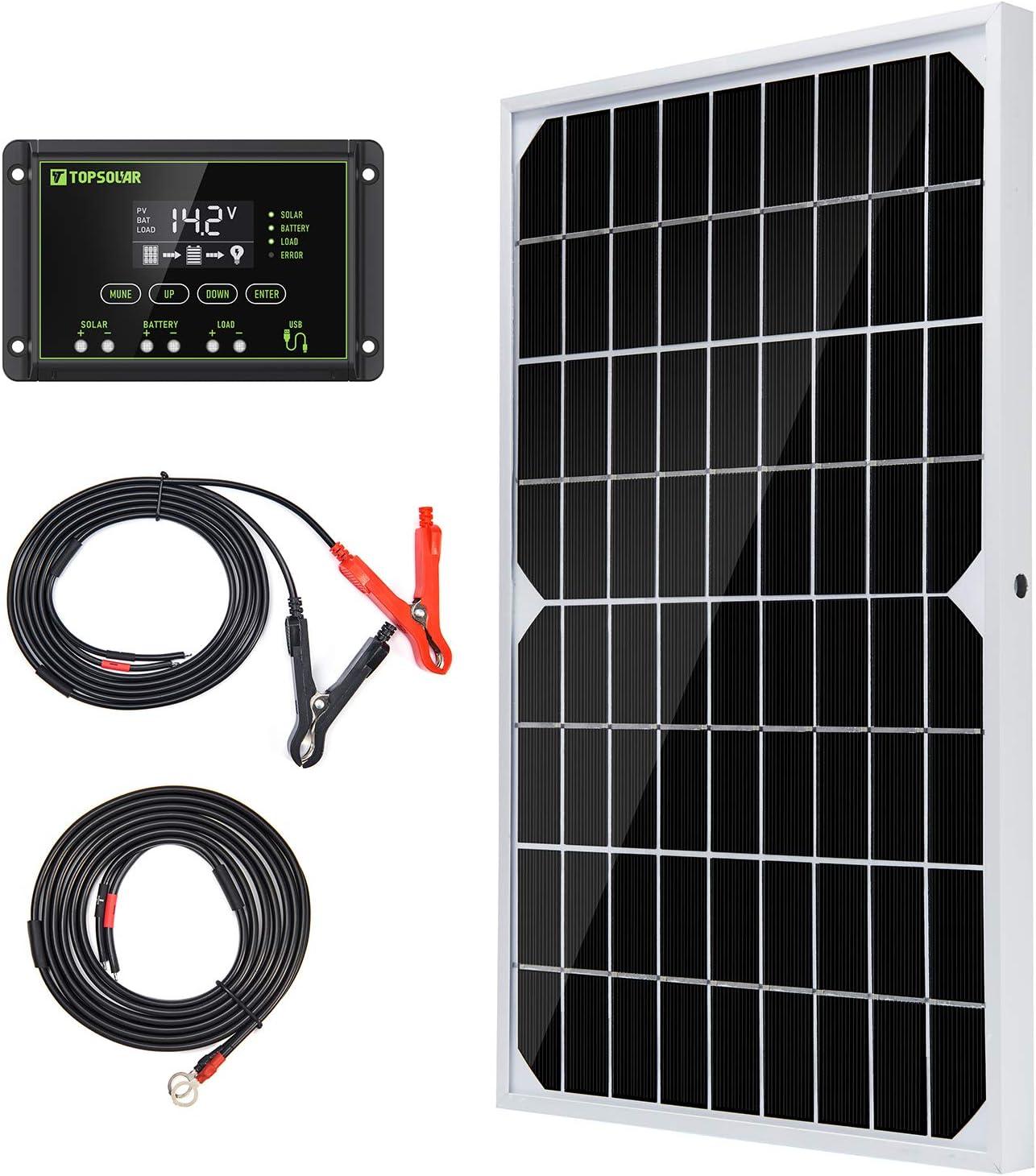 Topsolar Solar Panel Max 42% OFF Kit 10W with Max 70% OFF 10A 12V Monocrystalline