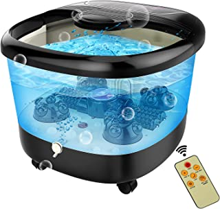 ACEVIVI Foot Spa Bath Massager with Heat and Massage and Bubble Jets, Motorized Shiatsu Massage Ball + Motorized Maize Roller + Rotatable Pedicure Stone, Red Light, Adjustable Time & Temperature, LED