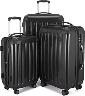 HAUPTSTADTKOFFER Luggages Sets Glossy Suitcase Sets Hardside Spinner Trolley Expandable (20', 24' & 28') TSA (Black)