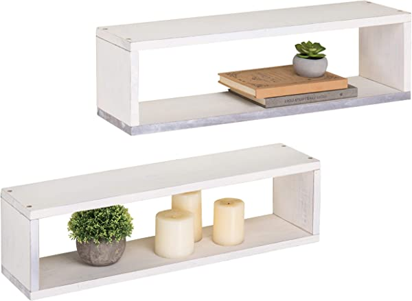 MyGift Wall Mounted 24 Inch Vintage White 2 Tier Wall Shelves Set Of 2