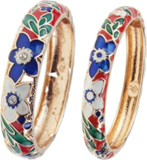 UJOY Women's Multi-Colors Cloisonne Bracelet Gold Plated Floral Enameled Hinged Cuff Bangles Jewelry Gift 88A11
