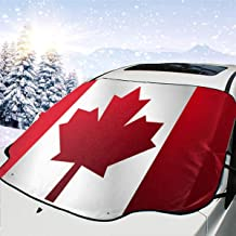 Canada Flag Car Windshield Snow Ice Cover Frost,UV Full Protection Defense Large Magnetic Edges Windshield Winter Cover Fits Most Cars and SUV