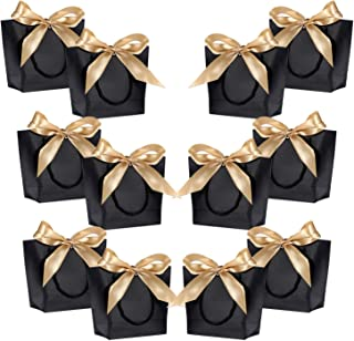 Gift Bags with Handles- WantGor 8.6x6.3x2.7inch Paper Party Favor Bag Bulk with Bow Ribbon for Birthday Wedding/Bridesmaid Celebration Present Classrooms Holiday(Matte Black, Extra Small- 12 Pack)