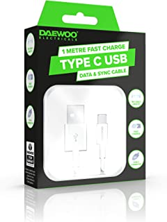 Daewoo 1 Metre Type-C USB Fast Charge Cable for Date & Sync Connection, Power Level 5V 2.1A, Use with Compatible Adaptor