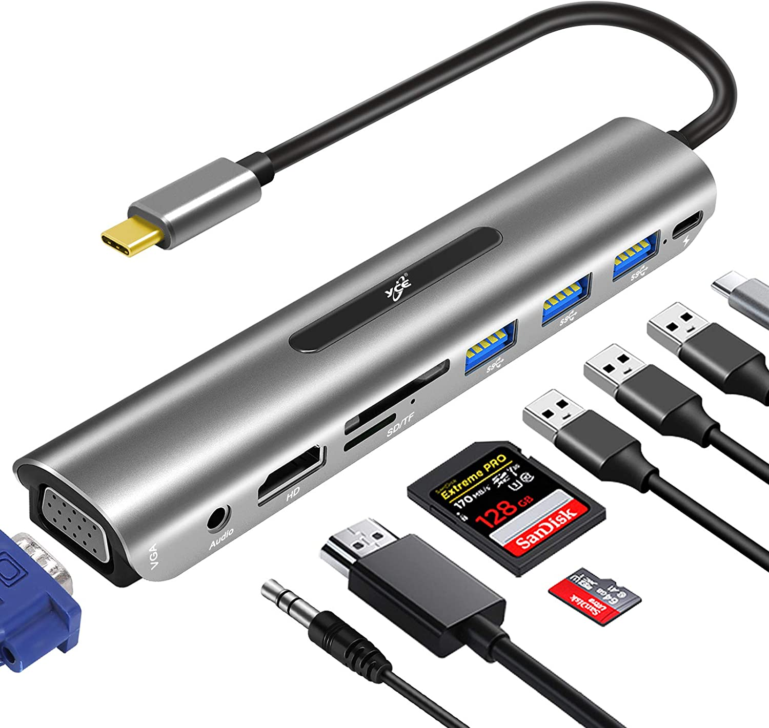 USB C Hub, USB C Dock,9 in1 USB C Docking Station Adapter with 4K HDMI, VGA, 100W PD, 4 USB Ports, SD TF Card Reader Multiport HDMI Dock for MacBook Pro/Air and USB-C Laptops