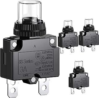 CLDIY 3A Leistungsschalter mit thermischem Überlastungsschutz, Serie 88, manueller Drucktaster Reset mit Schnellanschlussklemmen und wasserdichter Tastenkappe, 32 VDC oder 125/250 VAC, 4 STÜCKE