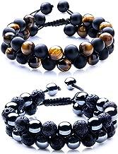 WRCXSTONE Natural Stone Bracelet Mens Black Lava Rock Bracelet Tiger Eye Gemstone Bracelet Yoga Essential Oil Bracelet Charm Gift