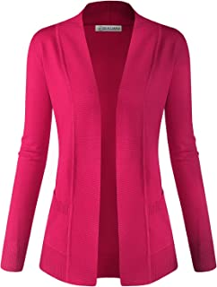 Women Classic Soft Long Sleeve Open Front Cardigan Sweater Magenta X-Large