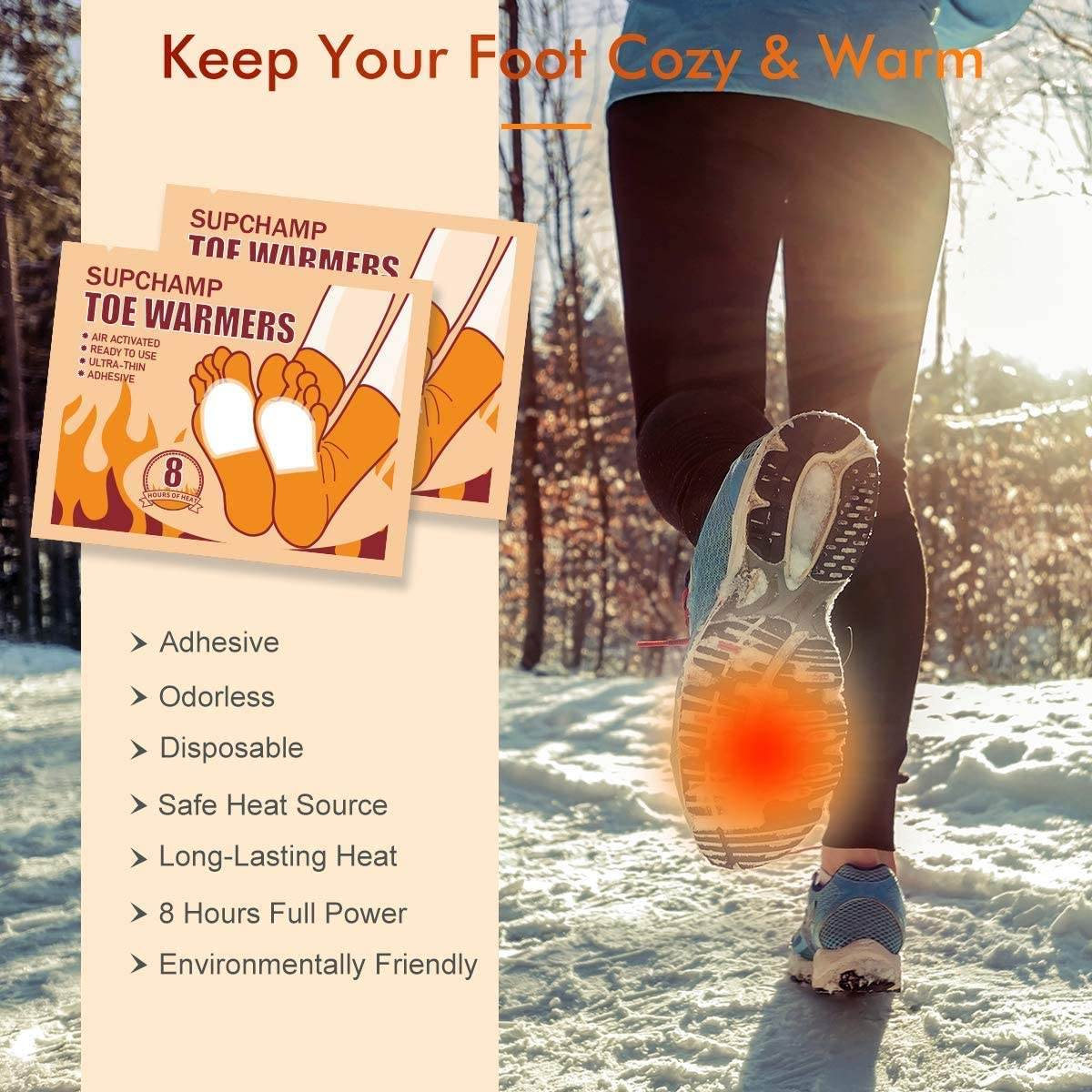 8 Hours Safe Heat 10 or 40 Pairs Disposable Adhesive Foot Warmers Air Activated Shoe Heat Pads for Winter Outdoor Activities Supchamp Toe Warmers