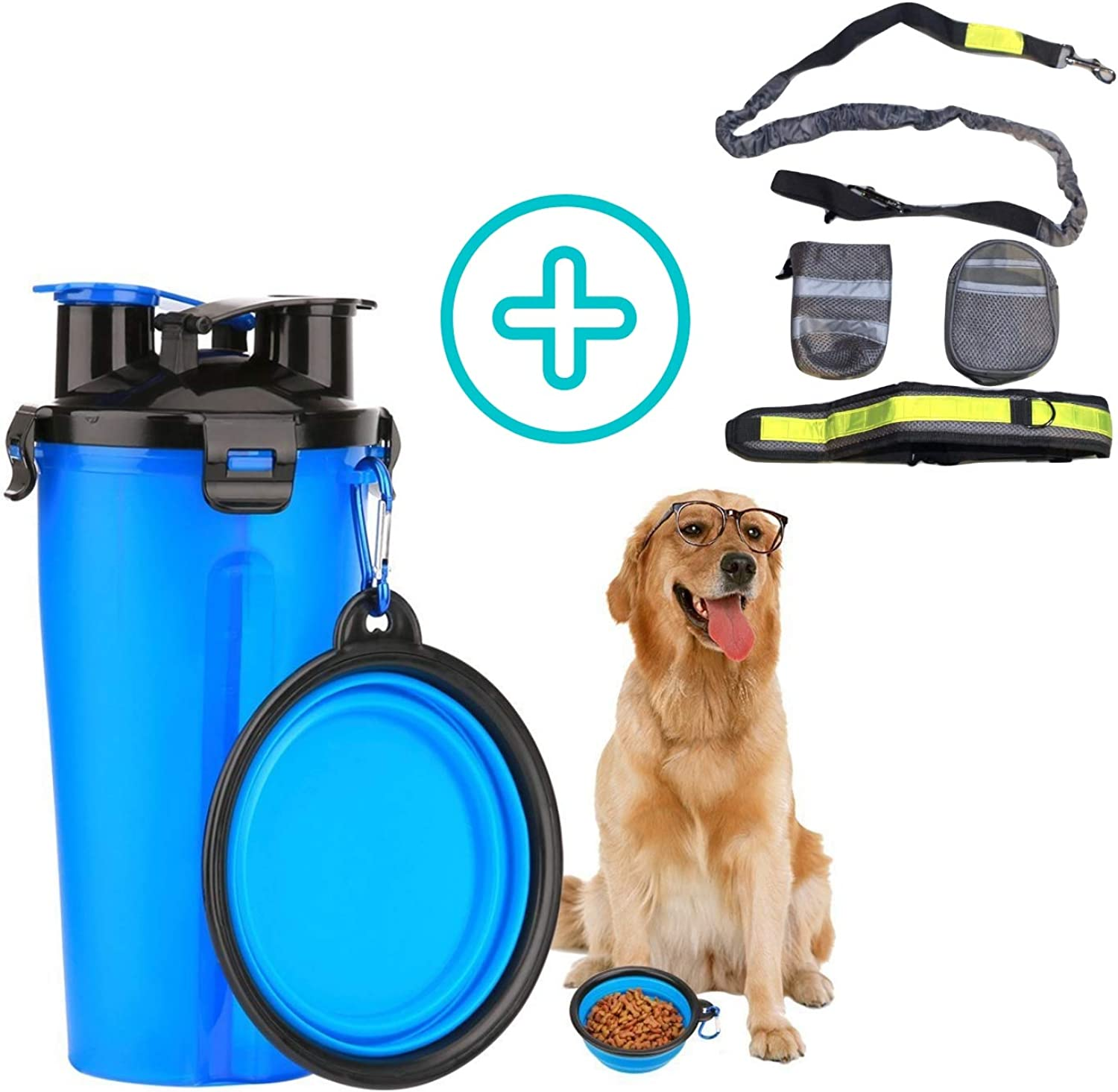 Securepup Dog Water and Food Container with Collapsible Bowl and Hands Free Leash for Small Dogs for Travel Walking and Hiking Portable Dual Chamber Bottle