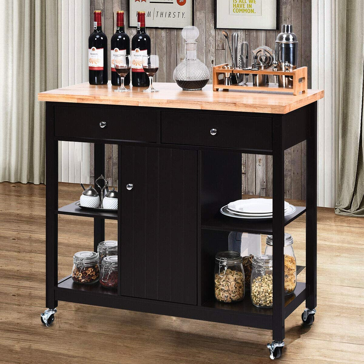 Deluxe 1 Pc of Rolling Kitchen Trolley Utility Home discount Cart Shelf Island C