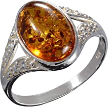 HolidayGiftShops Sterling Silver and Baltic Honey Amber Ring Salma