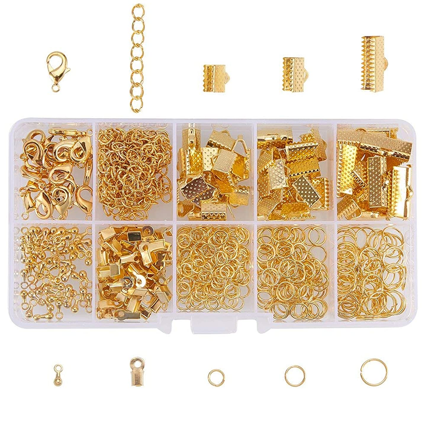PandaHall Elite About 440 Pcs Jewelry Finding Kits with Ribbon Clamp End, Jump Ring, Fold Over Cord Ends, Lobster Claw Clasps, Extender Chain, Drop Ends for Jewelry Making Golden