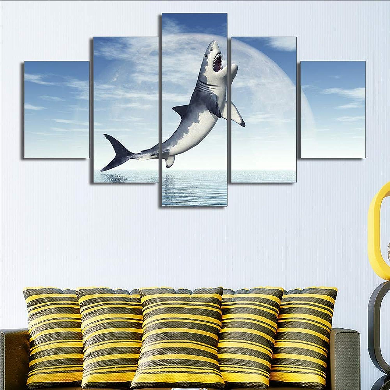 Ljtao Pintura Abstracta Foto De La Parojo Cuadros para La Sala De Estar Decorativo HD Cartel Pintura De La Lona 5 Panel Animal Dolphin Picture-20Cmx35 45 55Cm-Frame