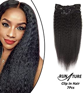 RUNATURE Kinky Straight 100% Human Hair Clip In Extensions 8Inch 100G 7 Pieces Short Thick Full Head Natural Black Clip in Hair Extensions Double Weft Clip Hair Extensions Real Hair