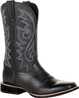 LangfengEU Bottes de Cowboy occidentales pour Hommes Chaussures en Cuir Motif de Broderie Bout Pointu Talon Haut Portable ...