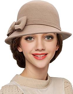 蒂芙莎 秋冬款羊毛呢帽子女士蝴蝶结圆顶小礼帽 卷边毛呢盆帽遮阳帽
