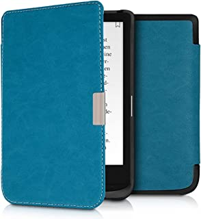 kwmobile Case for Pocketbook Touch Lux 4/Basic Lux 2/Touch HD 3 - Book Style PU Leather Protective e-Reader Cover Folio Case - Petrol
