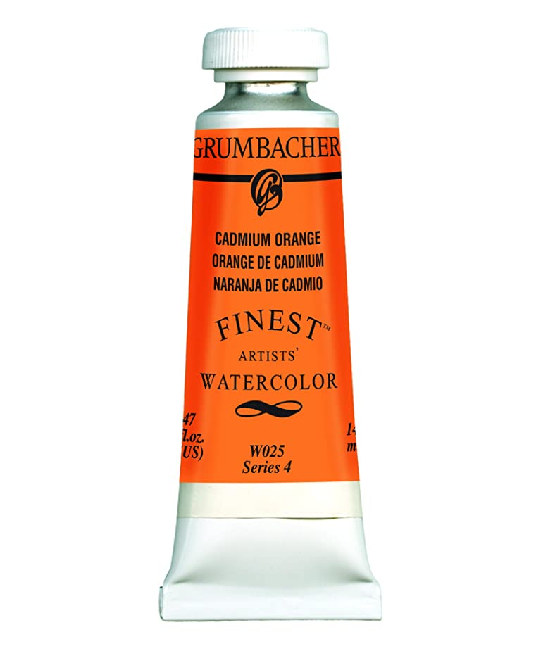 Grumbacher Finest Watercolor Paint, 14 ml/0.47 oz, Cadmium Orange
