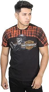 Mens Bearded Bones Skull Shoulder Dye Crackle Black Short Sleeve T-Shirt