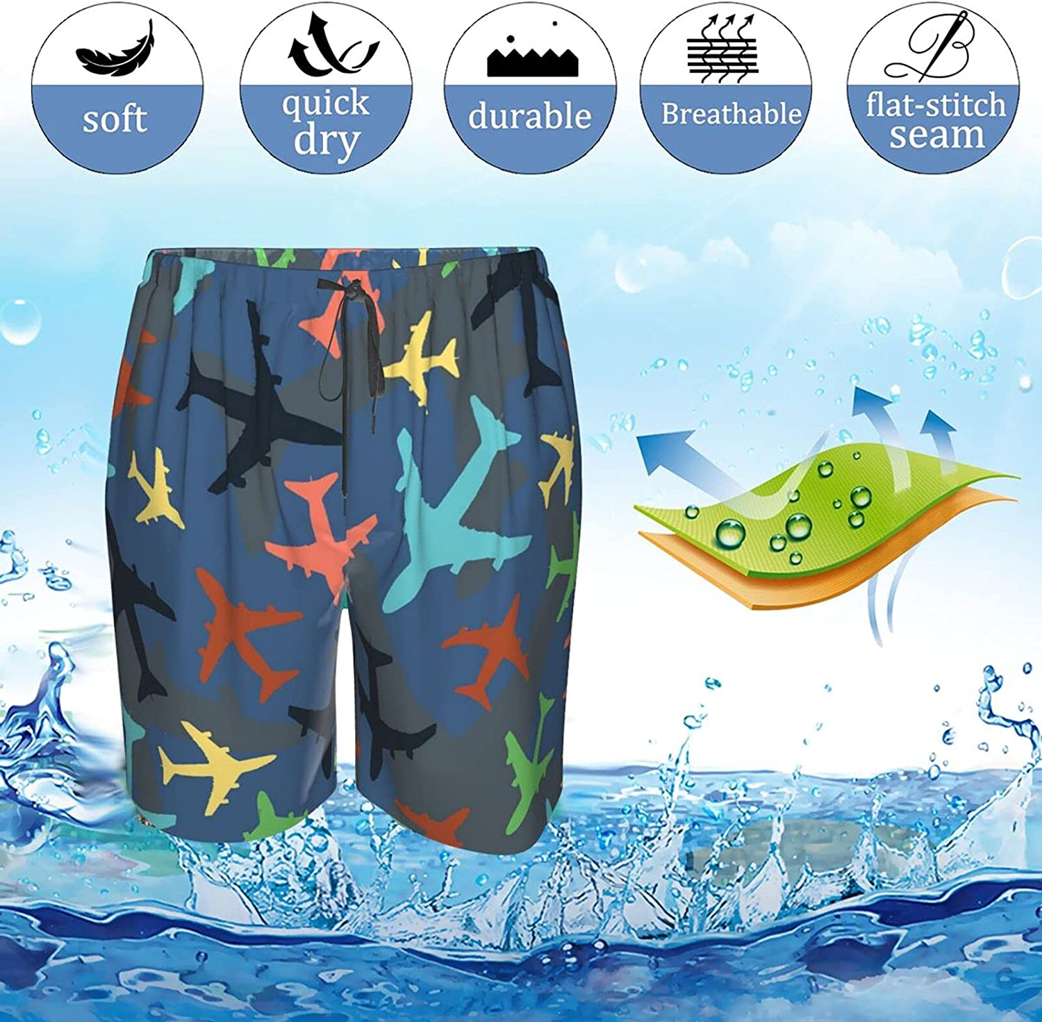 JINJUELS Mens Bathing Suits Colroful Plane Swim Short Boardshort Quick Dry Comfy Athletic Beach Short with Pockets