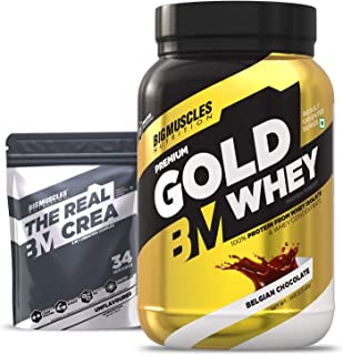 Bigmuscles Nutrition Premium Gold Whey 1Kg [Belgian Chocolate] with Free Real Crea 34 Servings |Whey Protein Isolate & Whe...